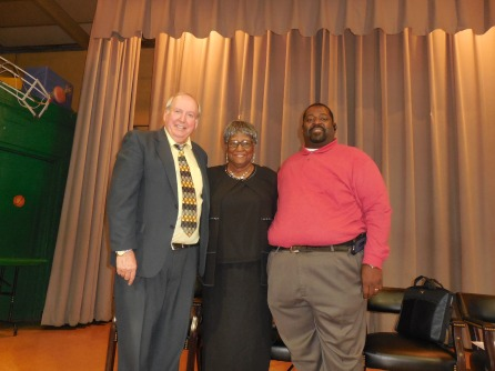 Larry Green, Sup. Mary Haralson Coleman, & Principal Derrick Cook