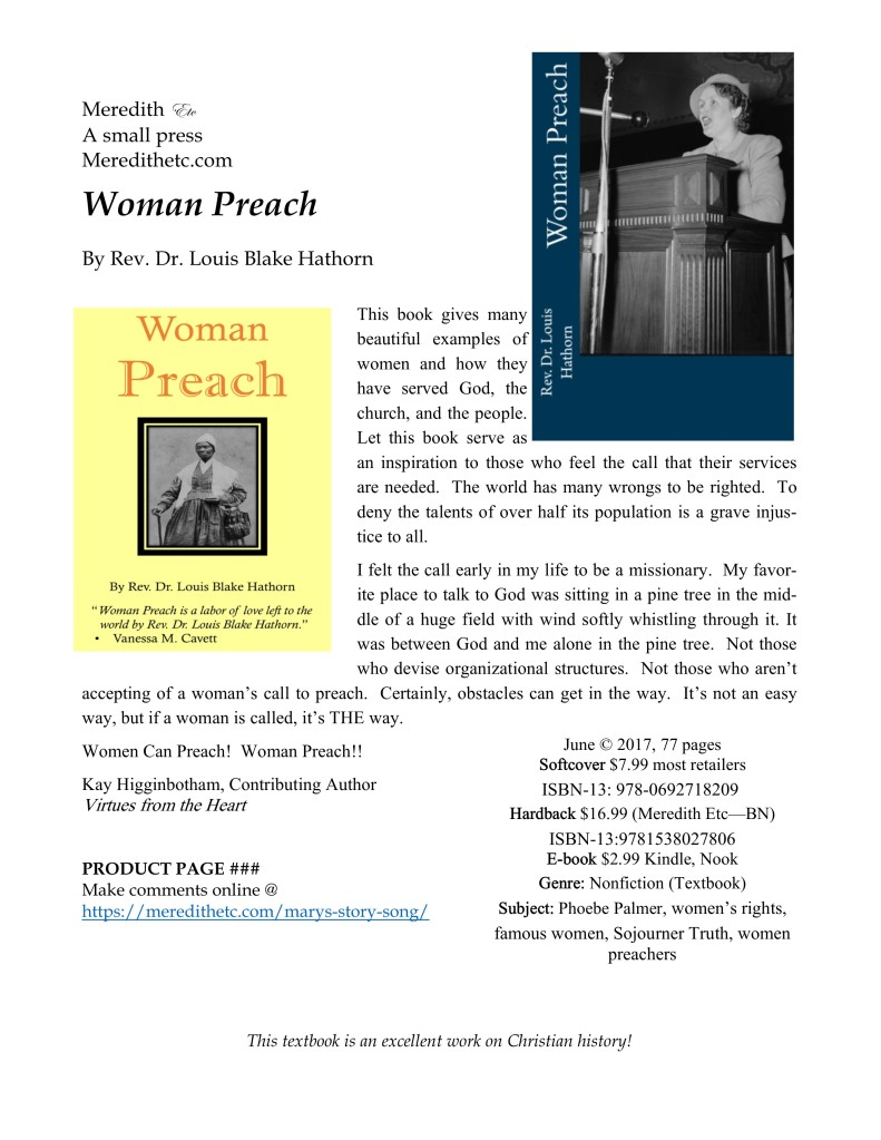 """Woman Preach       ' by the late Rev. Dr. Louis Blake Hathorn"