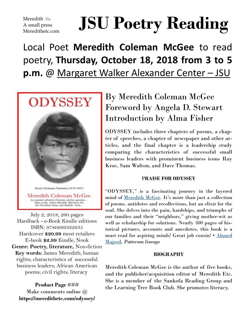 Odyssey 2nd Edition JSU Poetry Reading