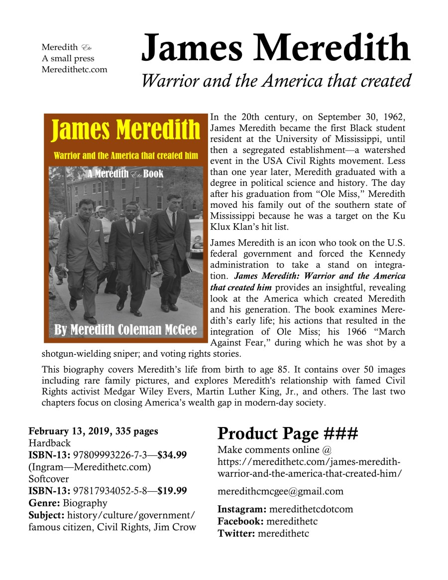 James Meredith: Warrior and the America that created him (2nd edition, Feb 15, 2019)