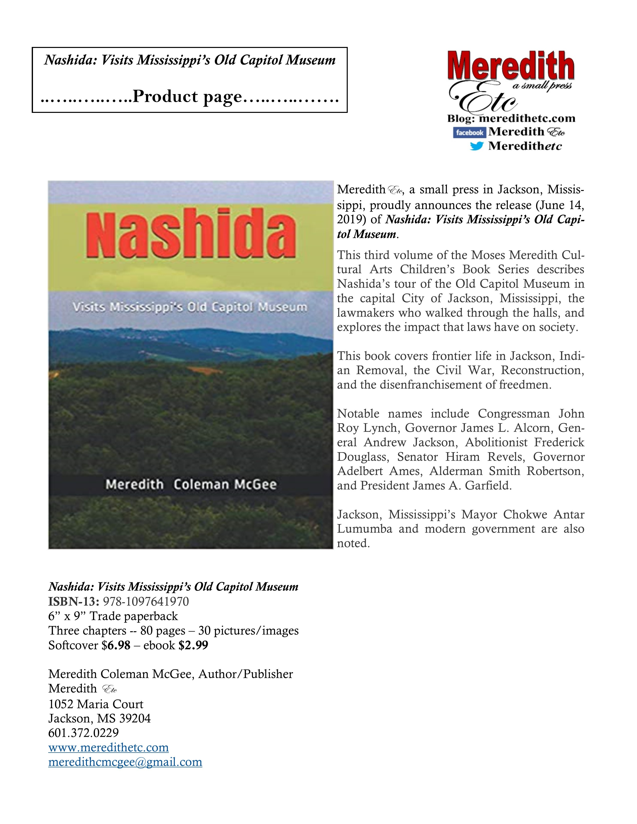Nashida: Visits Mississippi's Old Capitol Museum  (Moses Meredith Cultural Arts Children's Book Series Vol. 3)