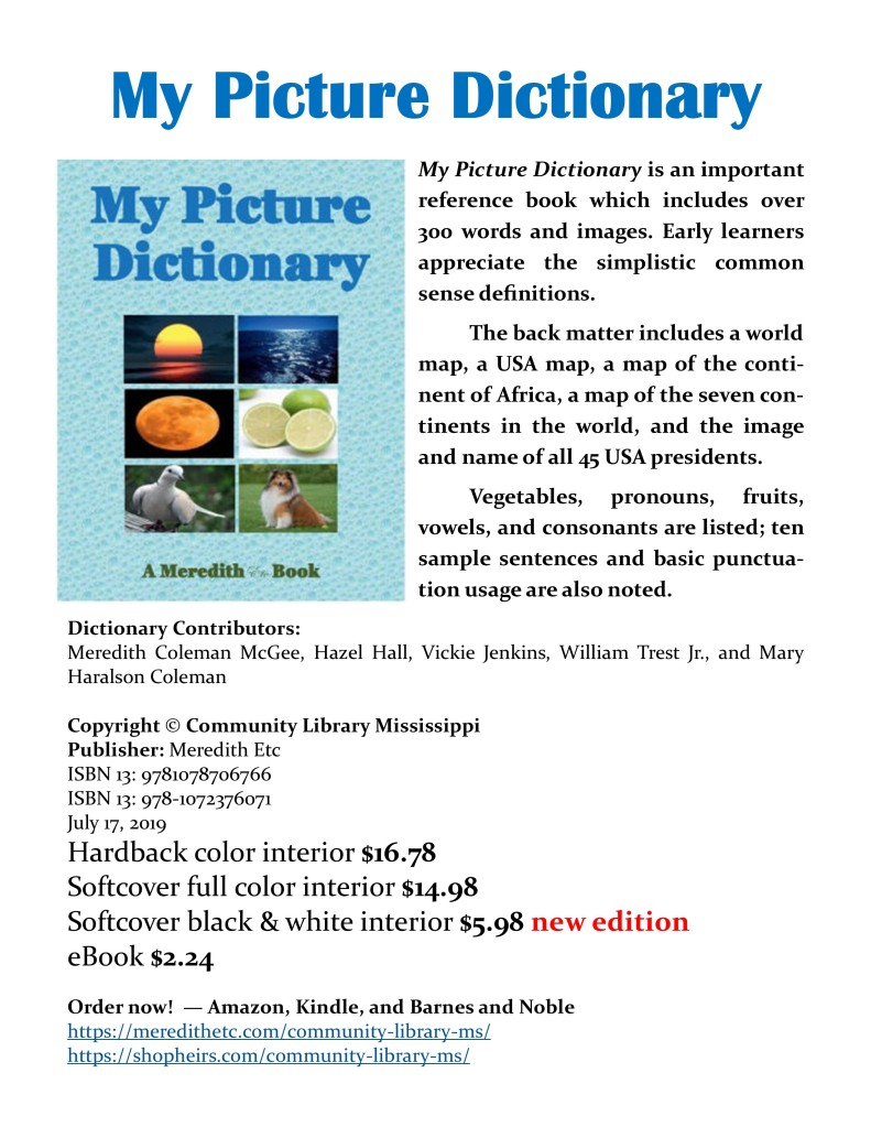 My Picture Dictionary (black & white edition cover)