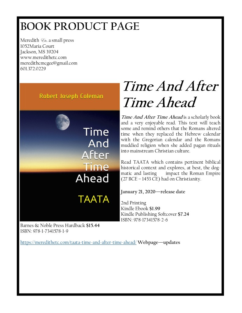 "Enjoy ""Time And After Time Ahead"" by Robert Joseph Coleman https://www.amazon.com/dp/B0842FRDJK"