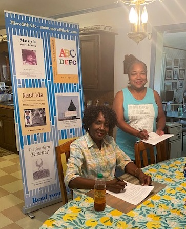 Florida Writer Shirley Francis's poetry and short stories will be published with Meredith Etc. Francis poses with Meredith Coleman McGee, Acquisition Editor/Publisher, Meredith Etc